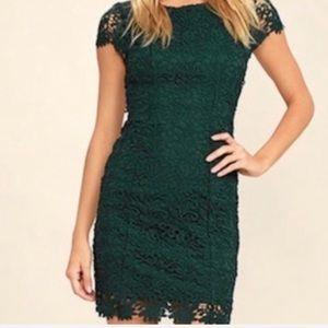 Lulu's Romance Language Dark Green Backless Dress